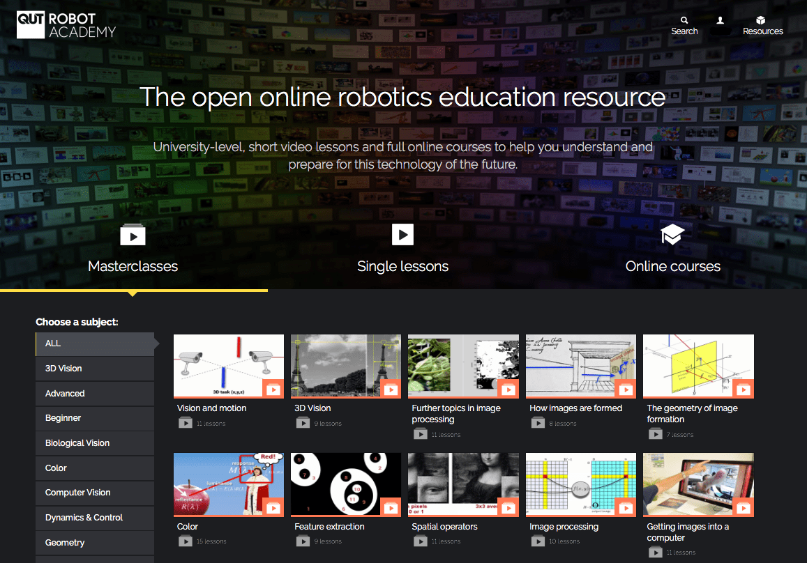 Robot Academy home page