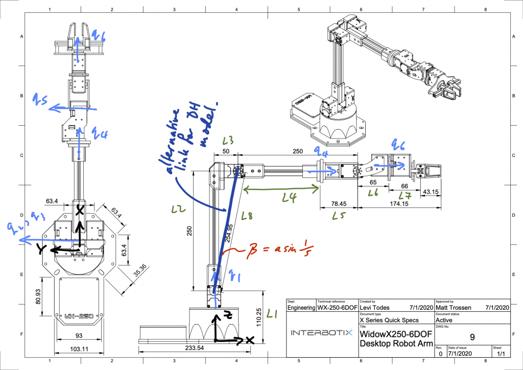 Annotated schematic of Interbotix WidowX 250 6DoF arm